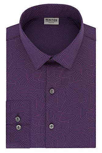 "Kenneth Cole REACTION Men's Dress Slim Fit Technicole All-Day Flex Shirt Print, Wild Orchid, 15"" Neck 32""-33"" Sleeve (Medium)"