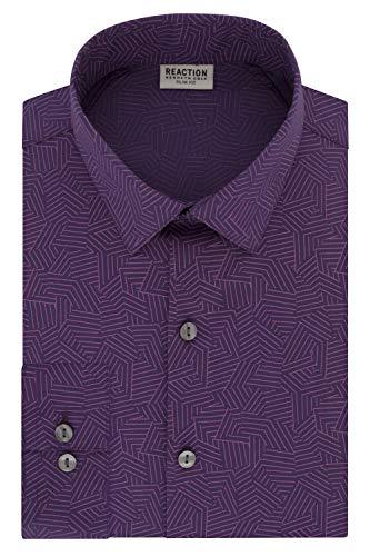 Kenneth Cole REACTION Men's Dress Slim Fit Technicole All-Day Flex Shirt Print, Wild Orchid, 15' Neck 32'-33' Sleeve (Medium)