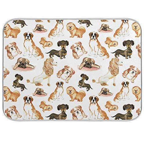 Tapis de séchage en polyester absorbant pour comptoir de cuisine Motif famille de chiens 45,7 x 61 cm 20100473