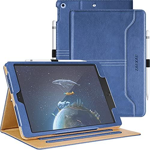ZAEXAE Custodia Cover per iPad 8/7 (10.2 Pollici, 2020/2019 Modello, 8/7 Generazione) con PU Pelle Supporto Tasca Auto Sveglia/Sonno Multi-Angolo, Apple iPad Tablet Case, Blu