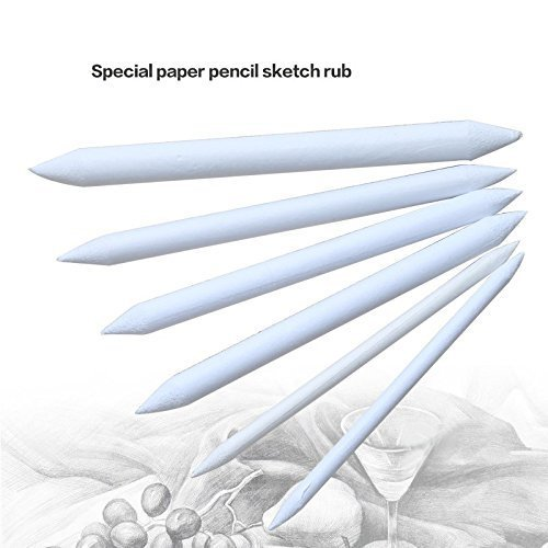 5 Cinco 6pcs papel duradero blending stump Tortillon Sketch Art Drawing Pen herramienta Color Blanco