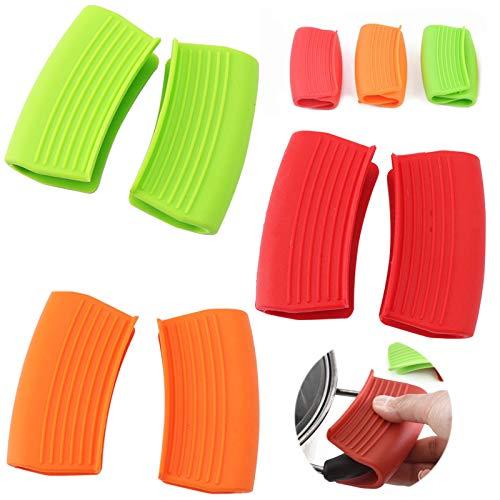 Mini Agarraderas Fundas de Silicona Mini Horno Mitt Clip de Mano Aislamiento de Silicona para el Hogar Cocina Plancha Horno Olla de CoccióN 3 Pares (Verde Naranja Rojo) 6 Piezas