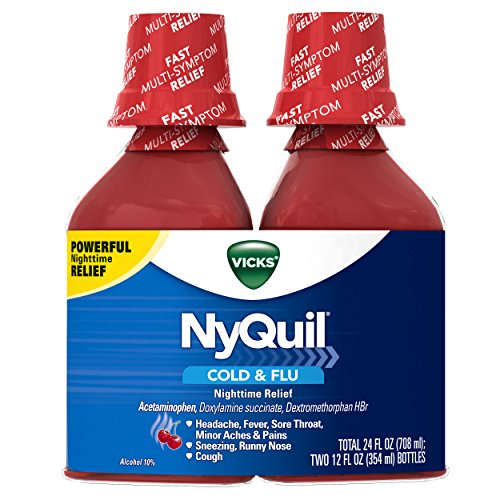 Vicks NyQuil Cough Cold and Flu Nighttime Relief, Cherry Liquid, 2x12 Fl Oz (Packaging May Vary)