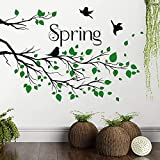 RW-533 Removable Green Tree Branches Wall Decals Spring Green Leaves with Black Birds Wall Stickers DIY Family Tree Branches Wall Art Decor for Kids Baby Bedroom Living Room Nursery Kitchen Office