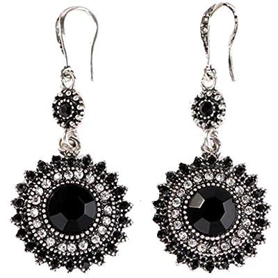 Bohemia National Wind Restoring Ancient Ways Sunflower Earrings (Black)