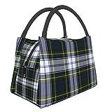 Bolsa de almuerzo reutilizable con aislamiento, elegante Gordon Dress Tartan Plaid Durable Bolsa de almuerzo Bolsa de picnic ligera de gran capacidad portátil aislante para hombres y mujeres