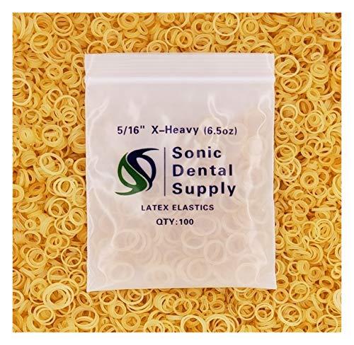 Sonic Dental - Amber 5/16' X-Heavy 6.5 oz - Orthodontic Elastic - Braces - Dental Rubber Bands USA…