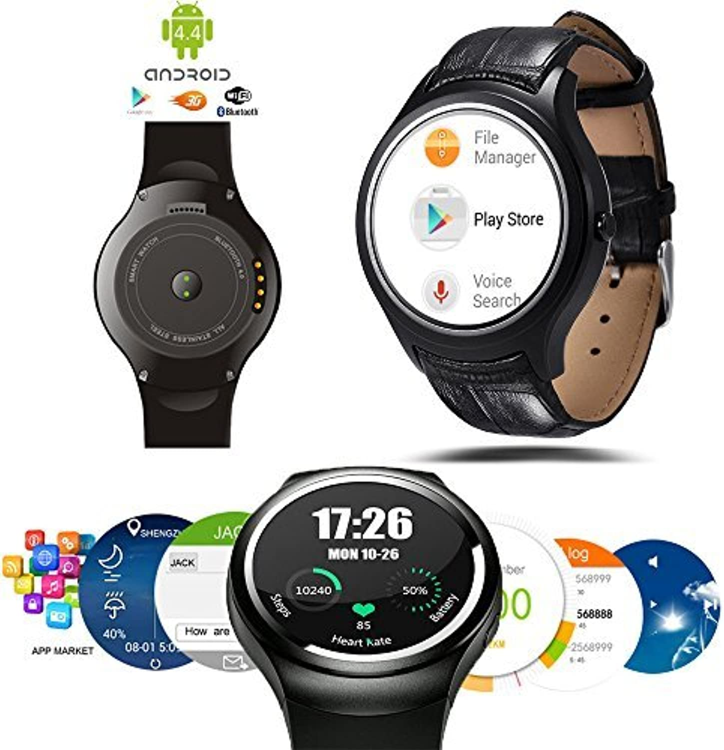 Indigi Allweather Android 4.4Smart Watch (3G + WiFi) Google Play Store Google Map Wettervorhersage heart-rate Monitor