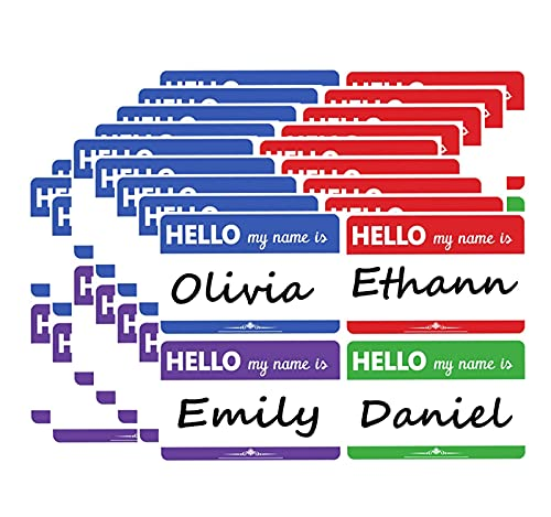 Colored Hello My Name is Stickers - Stick on Name Badges - Self-Adhesive Identification Name Label for Kids, School, Office, Parties, Events - 2 X 3 Inch 200Pcs (Hello stickers1)