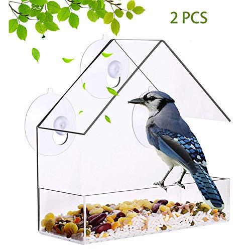 ZXL Vogelvoerhuisje voor ramen, vogelvoerhuis, transparant, van kunststof, vogelvoerstation met zuignap, 2 stuks