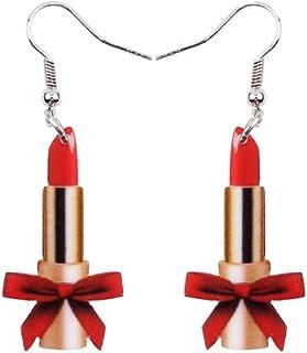 b7c73df50 News Acrylic Drop Dangle Lady Lipstick Funny Cute Earrings Style Fashion  Jewelry For Girls Women