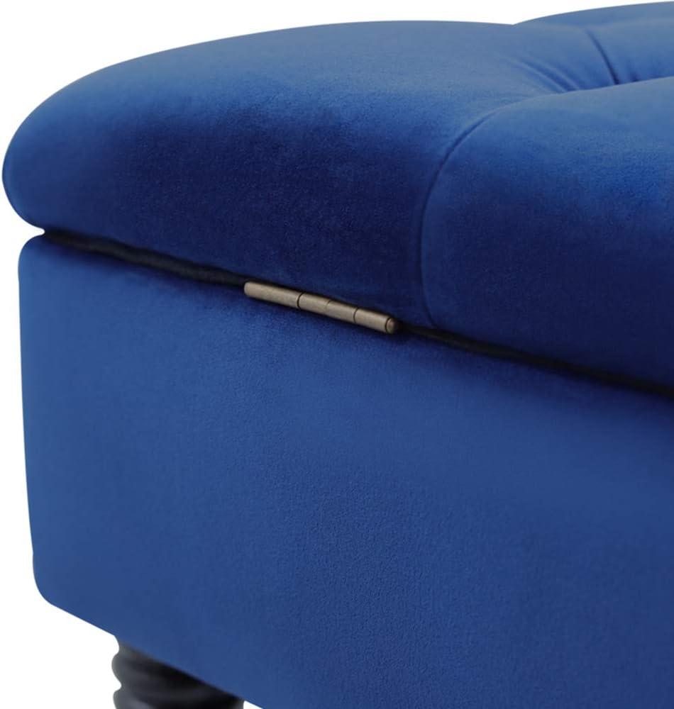 INMOZATA Footstool Bench Storage Window Seat Bench Upholstered Bench Velvet Bed End Stool Sofa Bench for Living Room Bedroom Hallway Green
