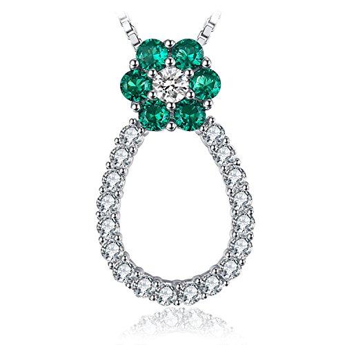 JewelryPalace Fiore 1.04ct Nano Russo Artificiale Verde Smeraldo Collana con Pendente 925 Argento Sterling 45cm
