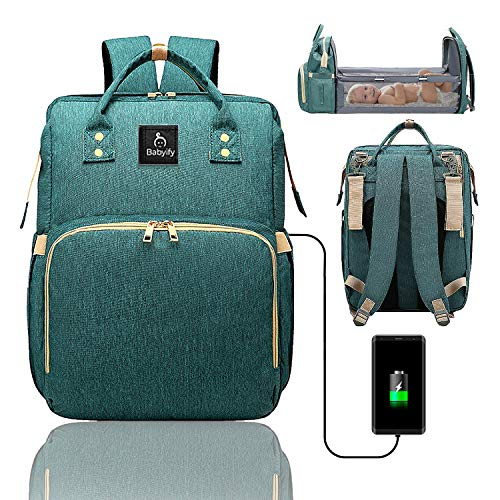 3 in 1 Diaper Bag Travel Bassinet - Multifunctional Green Backpack That Turns into a Crib - Diaper Bag That...