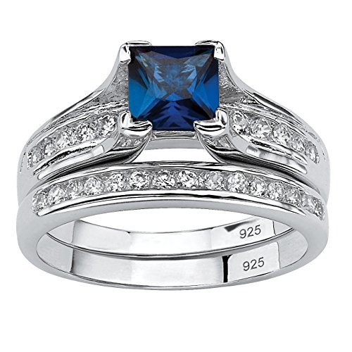 Platinum over Sterling Silver Princess Cut Created Blue Sapphire and Round Cubic Zirconia Bridal Ring Set Size 7