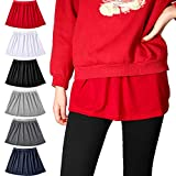 6 Pieces Adjustable Layering Fake Top Lower Sweep Skirt Extender Half Length Splitting A Version Mini Skirt Extenders Shirt Extenders for Women Girls, 6 Colors