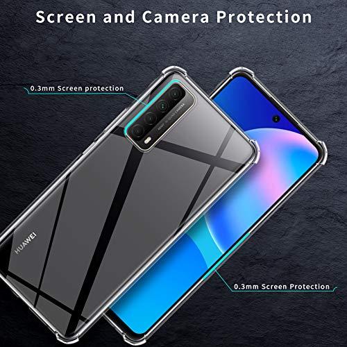 QULLOO Hülle für Huawei P Smart 2021, Transparent TPU Hülle Schutzhülle Crystal Case Durchsichtig Klar Silikon Cover für Huawei P Smart 2021
