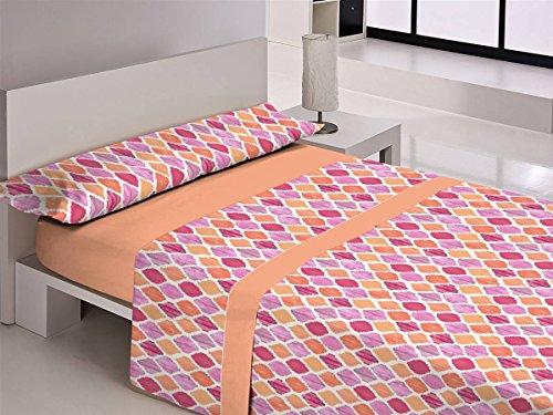 Happy home covadonga juego de sábanas 3 piezas, 50% algodo 50% poliester, naranja cama 90x190/200