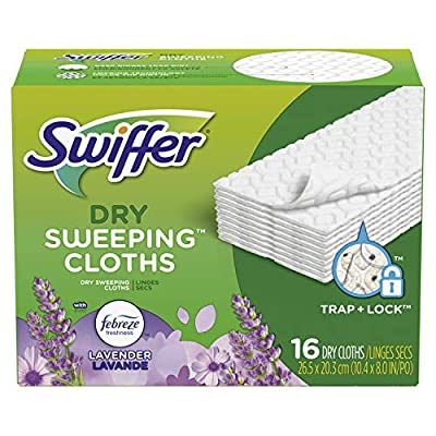 Swiffer Sweeper Dry Sweeping Pad Multi Surface Refills for Dusters floor mop, Lavender & Vanilla Comfort, 16 Count (Packaging May Vary)