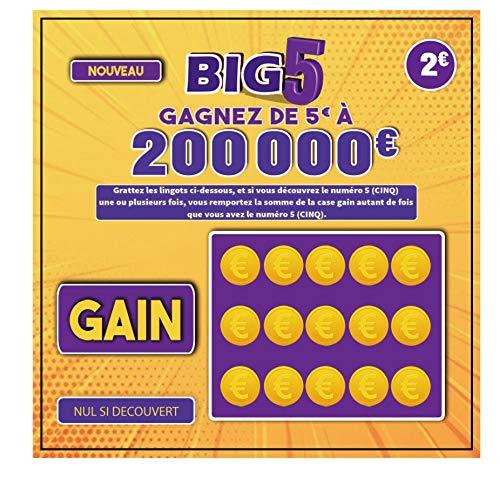 FG Humour Farces et Attrapes X 5 Faux Tickets Gagnants BIG 5 avec Faux Gain de 10000€ à 50000 € Cartes à gratter pour Blague et CANULAR Ticket à gratter Blague Cadeau Noel Blague Jour DE L'AN