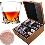 Almagic Whiskey Glass Set of 4 Lead Free Crystal Old Fashioned Glass 10oz for Scotch or Bourbon Wooden Wooden Gift Boxed with 8 Round Big Whiskey Stones, Tong, Velvet Bag