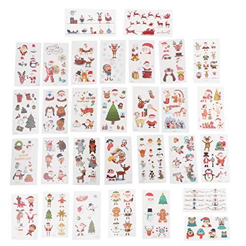 BLTR Impermeabile 30 Fogli di Natale Tatuaggi Sticker di Natale a Tema provvisorio del Tatuaggio Autoadesivo del Corpo delle Decalcomanie del Tatuaggio for Ragazze Bambine Ragazzi Sexy