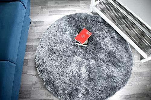 Alfombra de pelo largo Shaggy Gentle Luxus – tejida a mano, aterciopelada suave y brillante (80 cm x 80 cm, redonda, gris)