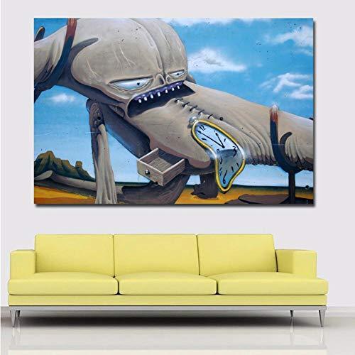 Poster Graffiti Street Art Abstrakte Bilderuhr und Tier Leinwanddrucke Poster Wohnkultur Wandkunst Gemälde Ungerahmt 20X27Inch (50X70cm) B