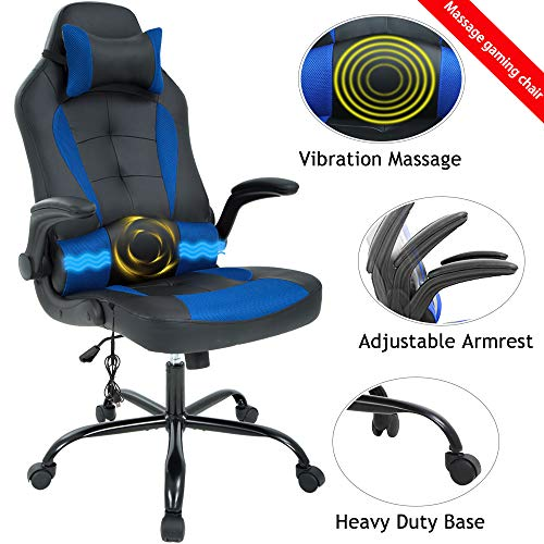 Massage Gaming Chair Ergonomic Office Chair High Back Desk Chair PU Leather Executive Chair with Lumbar Support Headrest Armrest PC Racing Computer Chair Task Rolling Swivel Chair, Blue blue chair gaming