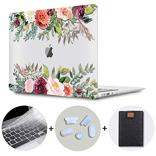 SDH Older MacBook Air 13 Case (Model: A1369 / A1466, 2010-2017 Release), Plastic Hard Shell & Gradient Keyboard Skin Cover & Dust Plug Compatible with 13 inch MacBook Air, Flower World 15