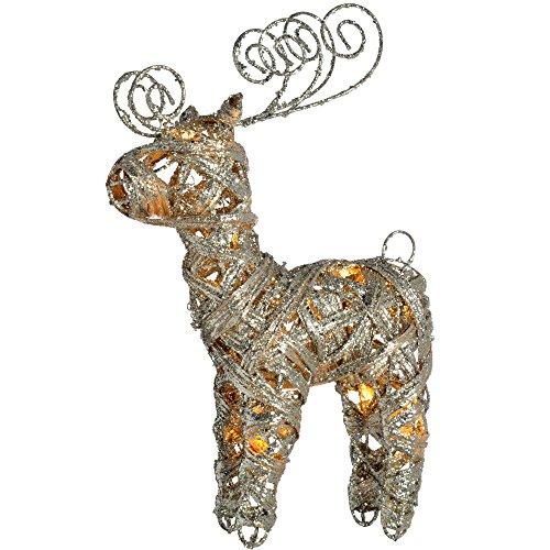 WeRChristmas Pre-Lit Silver Woven Rattan Warm White LED Reindeer, Dusting of Glitter, 40 cm - Multi-Colour