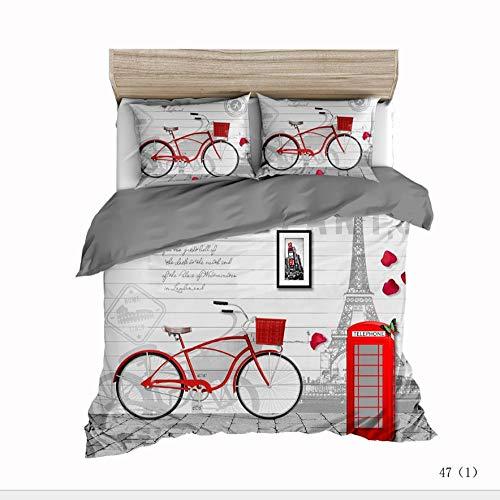 PERFECTPOT Funda de Edredón 3D Bicicleta Roja Juego de Ropa de Cama 3 Piezas Poliéster 1 Funda Nórdica y 2 Funda de Almohada, 200x200cm