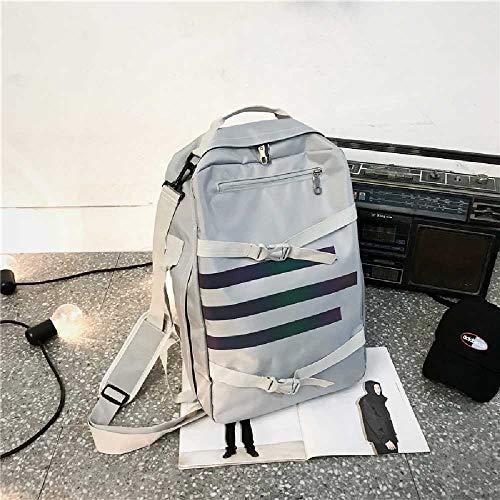 ghjg Sac à Dos Homme Trendy Student Bag Korean Men's Large Capacity Canvas Sac à Dos Homme Sac à Dos Léger Silver Grey - Quatre utilisations