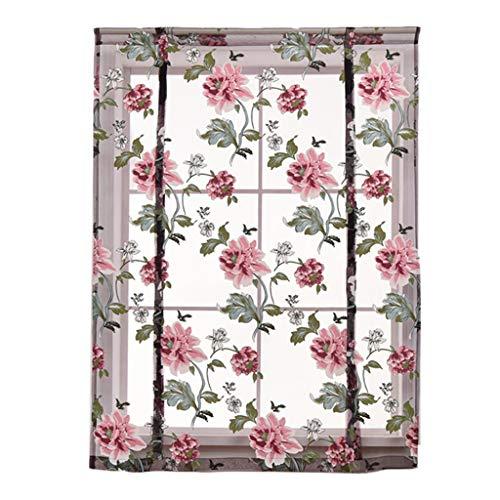 FLAMEER Landhaus Stil Raffrollo Raffgardine Fenstervorhang Kurze Gardine für Küche Fesnter - 60 x 120 cm