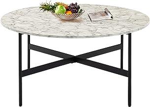 طاولة قهوة مستديرة من الرخام الصناعي باللون الأبيض العصري، 91.44 سم، طاولة أريكة جانبية في المنتصف لغرفة المعيشة، غرفة الط...