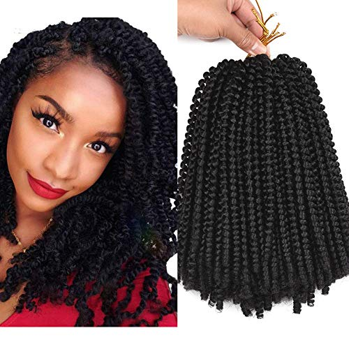 4 Packs 10 Inch Spring Twist Crochet Braids Hair Ombre Colors Passion Twist Fluffy Twist Hair Ombre Synthetic Braiding Hair Extensions (10 Inch, 1B)
