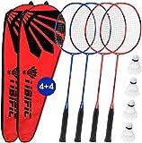 Badminton Rackets 4 Pack Set, 4 Nylon Shuttlecocks, 2 Carrying...