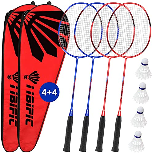Badminton Rackets 4 Pack Set, 4 Nylon Shuttlecocks, 2 Carrying Bags, Light Carbon Fiber, Backyard Outdoor Games for Adults and Kids, for Beginners and Advanced Players