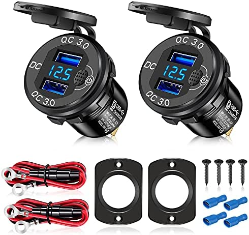 [Upgraded 2021]2Pcs 12V/24V USB Outlet with Voltmeter& ON/Off Switch, Quick Charge 3.0 Dual USB Power Outlet, Waterproof Fast Charge USB Charger Socket DIY Kit for Car Boat Marine (2 Pack)