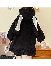 Yunbai sukienka japoński styl jesień zima kobiety słodka ciepła kurtka kawaii miękka wełna jagnięca falbany królik uszy z kapturem płaszcze dziewczęce parki odzież wierzchnia