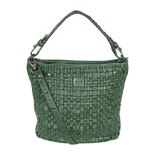 Bear-Design Damen Tasche,Shopper,Henkeltasche, Beuteltasche mit Schulterriemen aus geflochtenem, gewaschenem Leder (Grün)