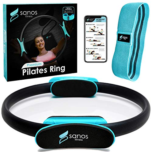 Sanos Fitness Pilates Ring - Premium Fitness Magic Circle for Full Body Toning for Legs, Thighs, Arms, and Abs with Free Hip Resistance Band, Workout Guide, and Thank You Gift Included