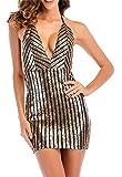 Babaseal Nanquan-Frauen Kleidung NQ Damen Spaghetti Strap ärmelloses Low Back Neckholder Pailletten, figurbetontes Kleid (Farbe : Aspic, Größe : Klein)