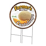 SignMission Corrugated Plastic Sign with Double Sided Image 36' Circular - Farmer's Market Cantaloupe   Coroplast Circle Yard Sign with Stake   Made in The USA