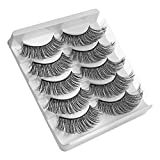 LIDDY False Eyelashes, 3D Faux Mink Fake Eyelashes Handmade Dramatic Thick Crossed Cluster False Eyelashes Black Nature Fluffy Long Soft Reusable(5 Pairs) (3D-46)