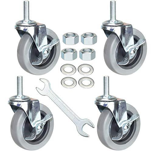 DICASAL 4 Inch American Size Threaded Stem Swivel Caster Wheels Heavy Duty Non Marking TPR Rubber Durable Wheels Castors with Tread 1/2