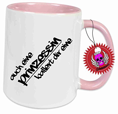 Klebemonster24 Tasse mit Spruch: Auch eine Prinzessin ballert dir eine Rosa voll. Lustig Boss Chef Geschenk Geburtstag Kaffee Becher Tasse