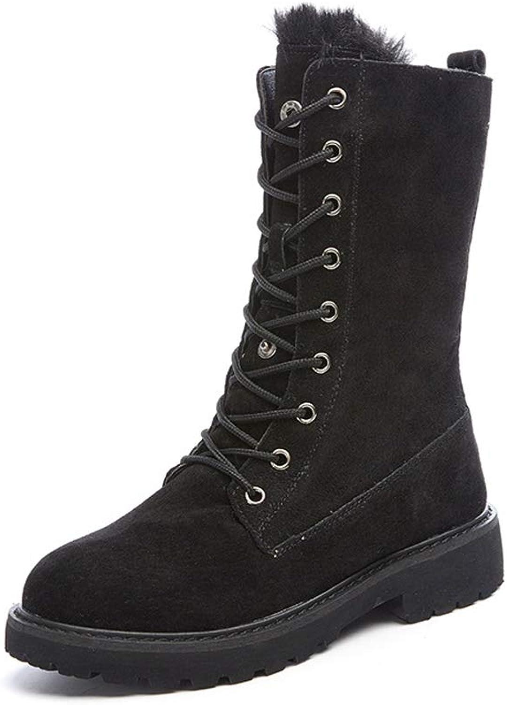 Winter Women Boots Wide Calf, Plus Velvet Padded Student Snow Boots, Warm Lace-Up Cotton shoes,Black-CN35