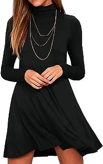 KEEDONE Women's Long Sleeve Turtleneck Casual Loose T-Shirt Dresses