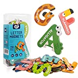 Jumbo Magnetic Letters Animal Styling Toys For Kids,Fridge Magnets Stick Colorful Paper ABC Alphabet Uppercase Toy Set Preschool Learning Spelling Refrigerator for 3 4 5 Year Old Toddler Kids Boy Girl